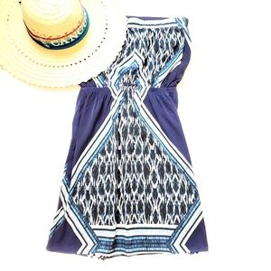 Express strapless blue pattern dress, XS